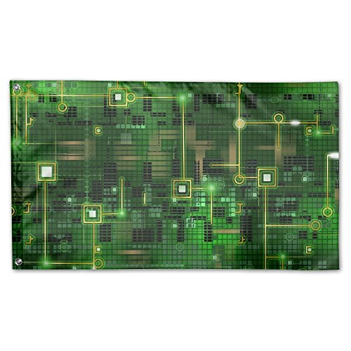 Garden Flag Circuit Green Background Outdoor Yard Home Flag Wall Lawn Banner Polyester Flag Decoration 3' X 5']()