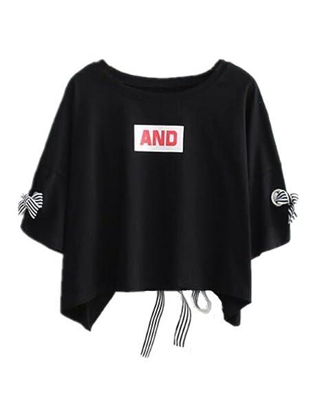 Aoliait Juvenil Mujeres Casual Camiseta Manga Corta T-Shirt Casual Blusas Cuello Redondo Camisas Túnica