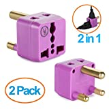 South Africa Adapter by Yubi Power 2 in 1 Universal Travel Adapter with 2 Universal Outlets - Purple - Type M for South Africa, Lesotho, Mozambique, Namibia, Nepal and more!-2 PACK