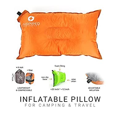 Inspired Equipment Inflatable Compressible Camping Pillow - Orange