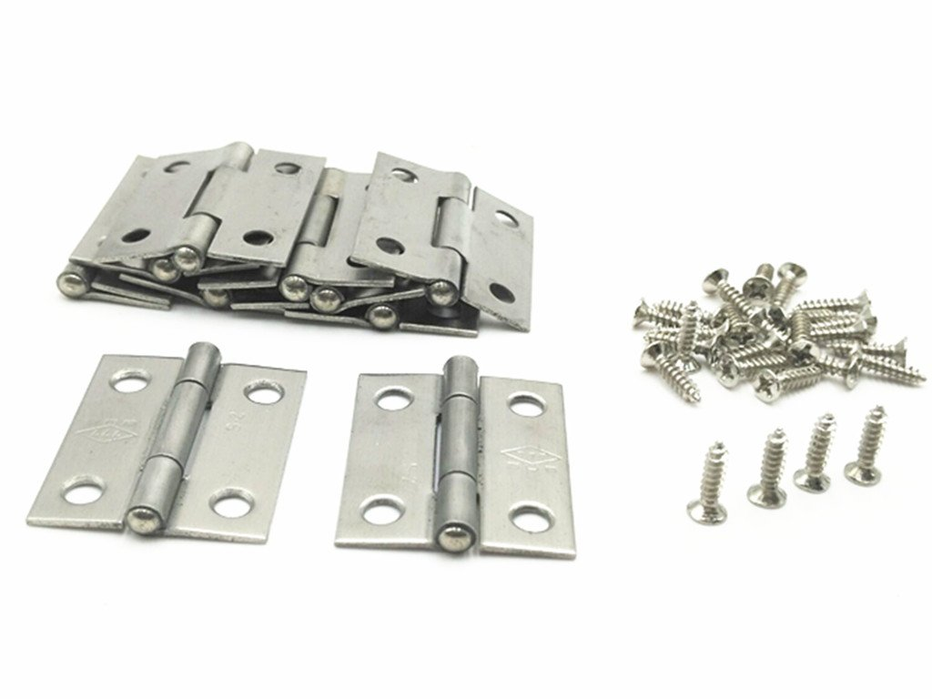 XJS Cabinet Stainless Steel Screw Mounted Door Hinges with Mounting Screws (1.5'' 10 Pcs)