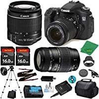 Canon EOS 70D Camera with 18-55mm IS STM Lens + Tamron 70-300mm AF + 2pcs 16GB Memory + Camera Case + Memory Card Reader + Professional Tripod + 6pc ZeeTech Starter Set
