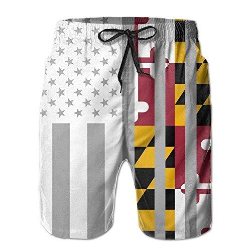 American Maryland Flag Men's Board Shorts Beach Shorts Swim Trunks Medium (Maryland Swim Trunks)