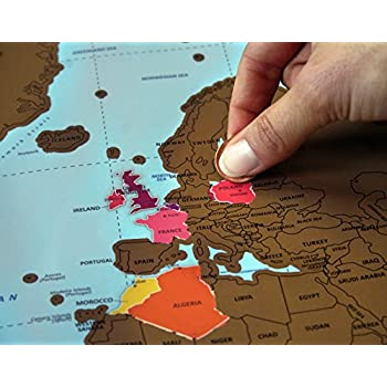Amazoncom Scratch Off World Map Poster Perfect For Travelers - Classroom size map of us