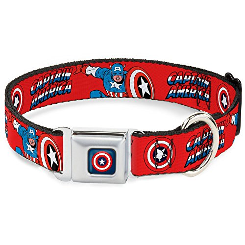 Buckle-Down DC-WCA001-S CAB Captain America Shield Navy Dog Collar, Small/9-15