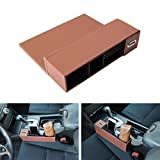 iJDMTOY (1) Brown Leather Car Side Pocket Organizer, Car Seat Catcher w/ Multi-Compartments & Coin Holder For Key, Wallet, Phone, Sunglasses, etc