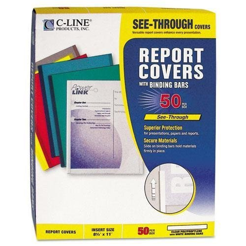 Cline Polypropylene Report Cover - C-Cline 32457 Polypropylene Report Covers w/Binding Bars, Economy, Clear, 11 x 8 1/2, 50/BX