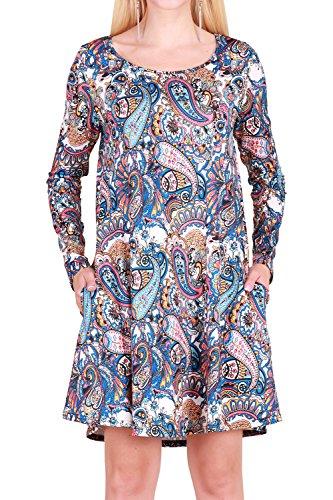 Dawnraid Women's Long Sleeve Winter Dress A Line Midi Paisley Dresses Plus Size