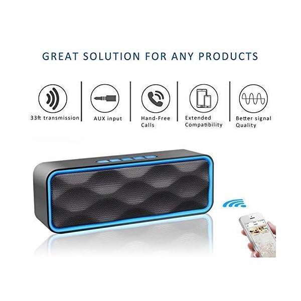 Enceinte Bluetooth Portable, Aigoss Haut Parleur sans Fil, Bluetooth 4.2 Subwoofer, Son HD Stéréo, Mains Libres Téléphone, Radio FM, Carte TF Support, pour iPhone, iPad, Samsung etc 3