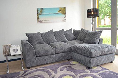 Dylan Corduroy Fabric Crum English Corner Sofa Settee Couch Armchair  Footstool (Footstool, Grey): Amazon.co.uk: Kitchen U0026 Home