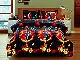 3 Piece Box Stitched 3d Burning Strings Guitar Prints Faux Fur Comforter Set (D09) King