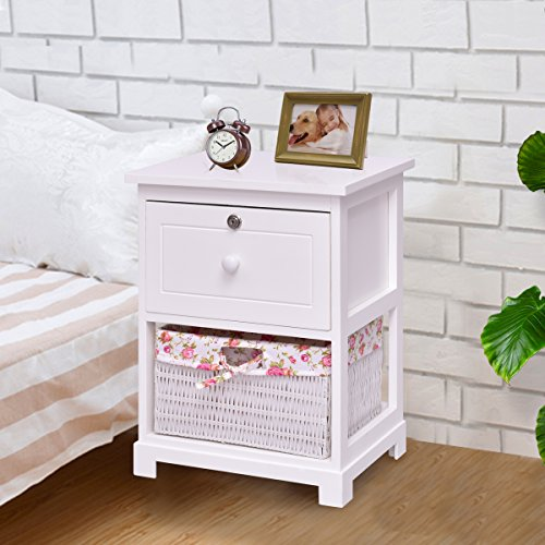 Giantex 2 Tier Nightstand End Table w/ 1 Drawer 1 Basket Wood Bedside Sofa Table Organizer Home Bedroom Living Room Furniture White