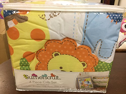 Sumersault Baby Crib Bedding Set 4 Piece Jungle Sports in Green and Blue (Sumersault Infant Crib)