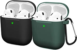 Compatible AirPods Case Cover Silicone Protective Skin for Apple Airpod Case 2&1 (2 Pack) Black/Midnight Green