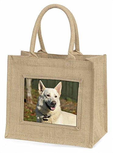 Advanta ad-wgsd1bln weiß Deutscher Schäferhund Große Einkaufstasche/Weihnachten Geschenk, Jute, beige/natur, 42x 34,5x 2cm