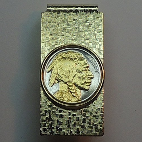 Old U.S. Indian head nickel - Gorgeously 2-Toned (Uniquely Hand done) Gold on Silver coin Hinged money clip for men for dad Christmas groomsmen birthday for him for women