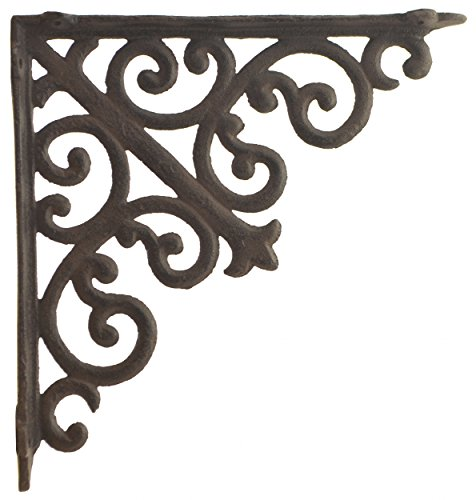 (Import Wholesales Cast Iron Wall Shelf Bracket Ornate Curl Pattern Rust Brown 10