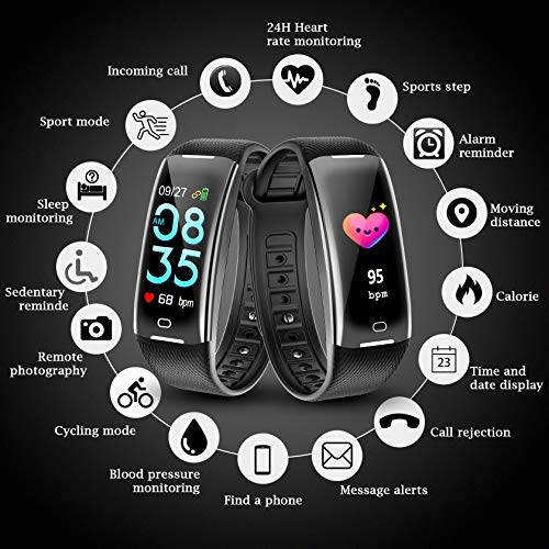 KARSEEN Fitness Tracker Smart Watch H3 Color Screen for Blood Pressure and Heart Rate Monitor Phone Enabled IP67 Waterproof Pedometer Sports Watch for Men (Black) by KARSEEN (Image #1)