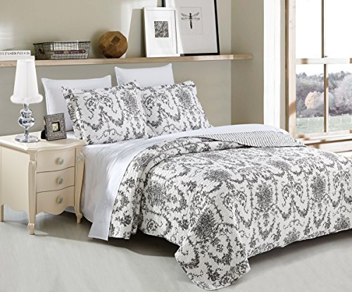 DaDa Bedding Collection Victorian Candelabra Elegant Damask Jacquard Quilted Coverlet Bedspread Set - Bright Vibrant Floral Black & White Print - Queen - 3-Pieces.