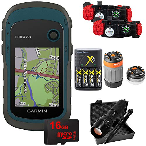 - Garmin eTrex 22x: Rugged Handheld GPS with LED Dome Lantern, 4 Rechargeable AA Batteries, 16GB MicroSD Memory Card, Tactical Flashlight and Pen Set, and Survival Bracelet (2-Pk) Bundle - 010-02256-00