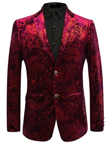 Velvet Print Coat (Alion Men's Basic Slim Fit Notched Lapel Velvet Print Suit Blazer Red XL)