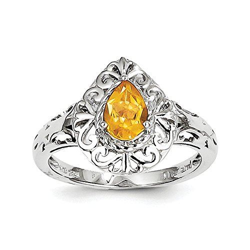 Size 8 Sterling Silver Simulated Citrine Teardrop Ring (2mm)