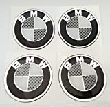 bmw wheel caps black - 4x BMW LOGO Domed 3D Carbon Fiber Kevlar Black Gloss Badge Wheel Center Gel Raised Resin Gloss Black Cap Hub Logo Emblem Decal Sticker Gel 50 mm