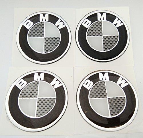 4x BMW LOGO Domed 3D Carbon Fiber Kevlar Black Gloss Badge Wheel Center Gel Raised Resin Gloss Black Cap Hub Logo Emblem Decal Sticker Gel 50 (Logo Carbon)