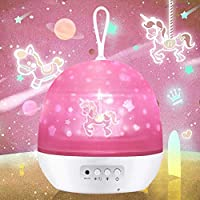 HONGKIDS Night Light for Girls,Baby Light Projector,Carousel,Space,Star,Ocean,4 Theme Colorful Projector for Girls Boys…