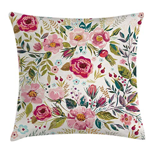 Spring Floral Pillow - Ambesonne Floral Throw Pillow Cushion Cover by, Shabby Chic Flowers Roses Petals Dots Leaves Buds Spring Season Theme Image Artwork, Decorative Square Accent Pillow Case, 20 X 20 Inches, Multicolor