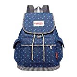 Geetobby Casual Backpack Denim Student Bag with Draw Buckle-Style Flap Pocket