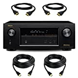 Denon AVR-X2100W 7.2 Channel Full 4K Ultra HD A/V Receiver with Bluetooth and Wi-Fi with a Pair of 10ft and HDMI Cables