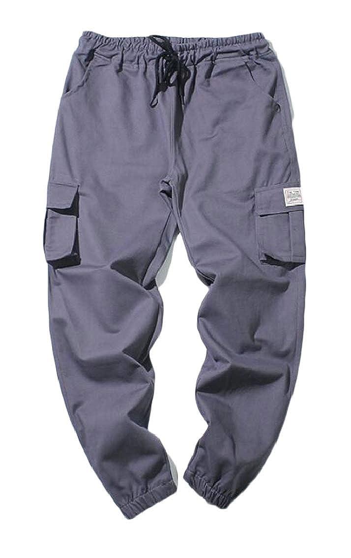 Yayu Men Casual Sweatpants Multi Pockets Cotton Cargo Closed Bottom Joggers Pants