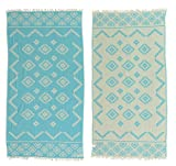 Bersuse 100% Cotton Teotihuacan Dual-Layer Handloom Turkish Towel-37X70 Inches, Turquoise