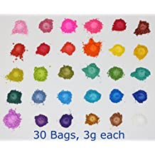 Mica Cosmetic Colorants - 3g 30 bags - Soap Makings Bath Bomb Mineral Makeup Eye Shadow Lip Balm Slime Play Dough Nail Art Resin Jewelry - by Colors Of Rainbow