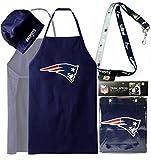 ( BUNDLE PACK ) NFL New England Patriots Apron Hat Set + Two Tone Lanyard