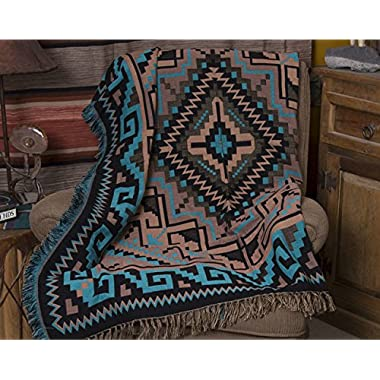 Mision Del Rey Southwestern Accent Throw 50x60 -Navajo Turquoise