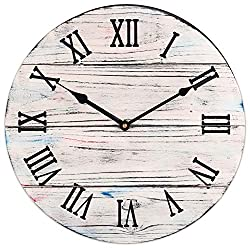 BEW Large Rustic Wall Clock, Vintage Indoor Decorative Clock with Roman Numerals, Silent Non-Ticking Wooden Clock for Living Room, Dining Room, Bedroom, Kitchen, Farmhouse - 18 Inch