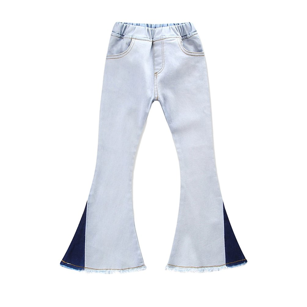 Dexinx Girls Attractive Comfortable Trousers Stylish Solid Color Boot Cut Jeans