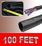 100FT 1.5'' BLACK SPLIT LOOM TUBING Wire & Hose Cover Polyethylene Audio Video