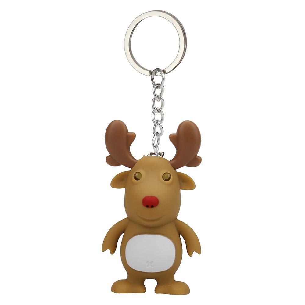 Weihnachten Schlüsselbund Vovotrade Cute Weihnachten Cartoon Deer Keychain mit LED-Licht Sound Keyfob Kinder Spielzeug (Braun) A04R48-22-05