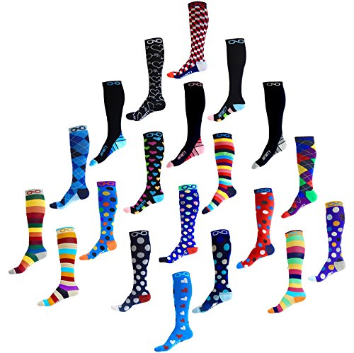 Compression Socks (1 pair) for Men & Women by INFINITY - BEST for Running, Nurses, Shin Splints, Flight Travel, & Maternity Pregnancy - Boost Athletic Stamina & Recovery (Nautical Steps, L/XL)