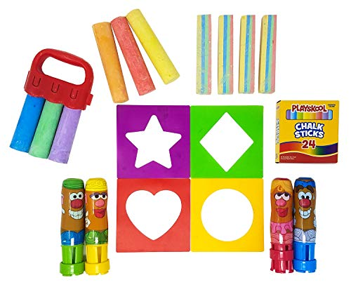 Playskool Chalk Activity Pack, Outdoor Play, 43 Pieces Total, Washable and Non-Toxic