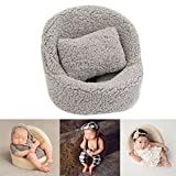 Zeroest Baby Photography Props Small Sofa Newborn Photo Shoot Posing Prop Monthly Chair Set (Gray)
