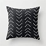 Jay94 Mudcloth Big Arrows in Black and White Throw Pillow Case Cushion Cover 18 X 18 inches