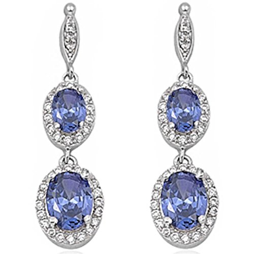 (Halo Drop Dangle Chandelier Earring Oval Simulated Blue Tanzanite Round Cubic Zirconia 925 Sterling Silver)