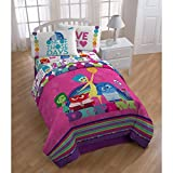 LO 1 Piece Pink Purple Inside Out The Movie Themed Comforter Twin, Fun Nickelodeon Feelings Bedding, Feeling Joy Sadness Disgust Anger Character Expression Multi Color Pattern, Blue Green Yellow