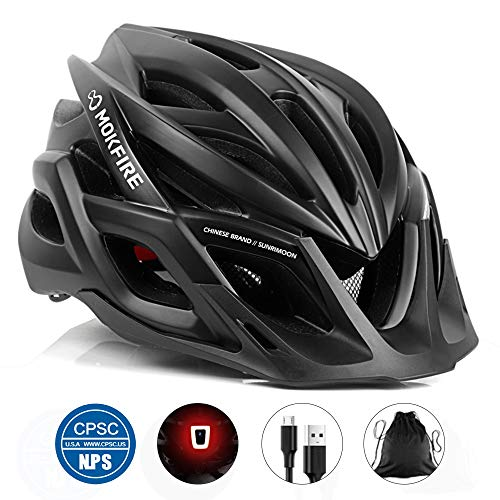 MOKFIRE Adult Bike Helmet CPSC Certified with Rechargeable USB Light, Bicycle Helmet for Men Women Road Cycling & Mountain Biking with Detachable Visor/Replacement Lining, 22.44-24.41 Inches (Black)