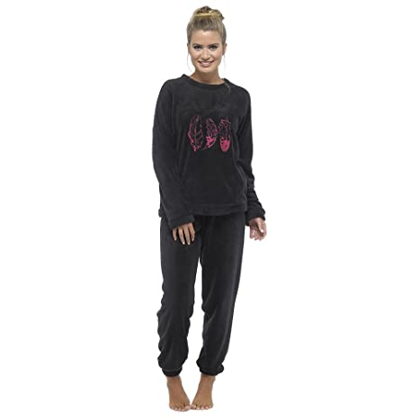 Pijama largo de forro polar para señora, cuello redondo, holgado, diseño de plumas, color negro y rosa: Amazon.es: Ropa y accesorios