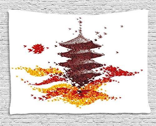 Ambesonne Modern Tapestry, Fall Season Concept Colorful Origami Birds Korean Asian Japanese Building Building, Wall Hanging for Bedroom Living Room Dorm, 60 X 40 Inches, Multicolor -